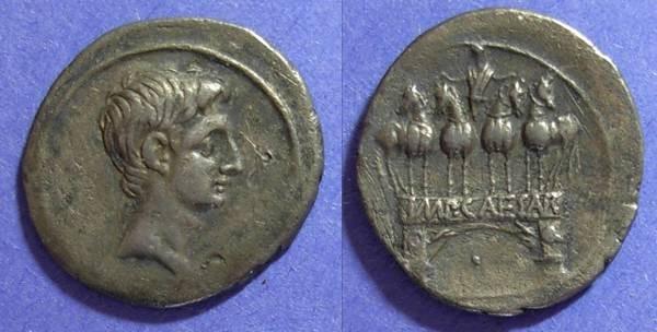 Ancient Coins - Roman Imperatorial, Octavian (Augustus) 30-27 BC, Denarius