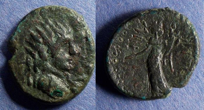Ancient Coins - Sicily, Entella, L. Sempronius Atratinus 36 BC, Semis