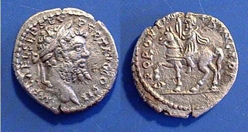 Ancient Coins - Septimius Severus 193-211AD Denarius - Severus on horseback