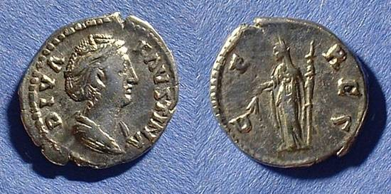 Ancient Coins - Faustina Sr (Wife of Antoninus Pius) D. 141 Denarius