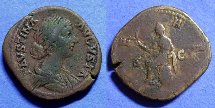 Ancient Coins - Faustina Jr (Wife of Aurelius) d. 175AD - Sestertius
