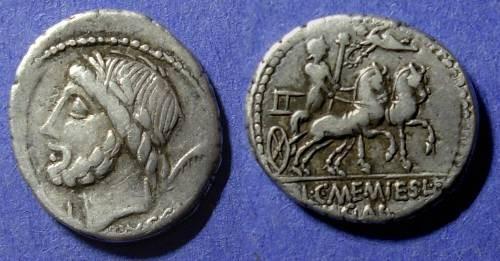 Ancient Coins - Roman Republic, L & C Memmius Lf Galeria 87 BC, Denarius