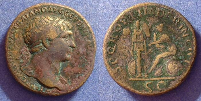 Ancient Coins - Trajan 98-117 Sestertius - mourning Dacian