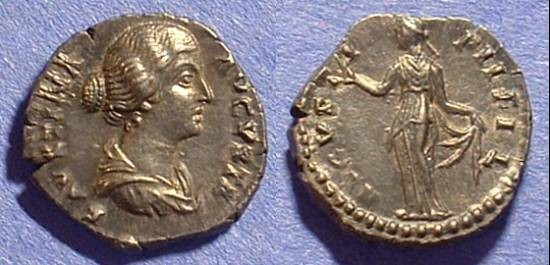 Ancient Coins - Faustina Jr (wife of M. Aurelius) D. 175 AD Denarius