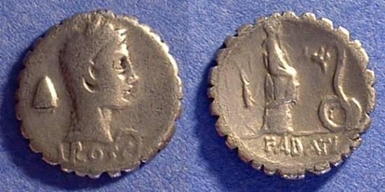 Ancient Coins - Roman Republic - Roscia 3 Denarius -64 BC