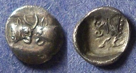 Ancient Coins - Caria, Uncertain city Circa 450 BC, Tetartemorion