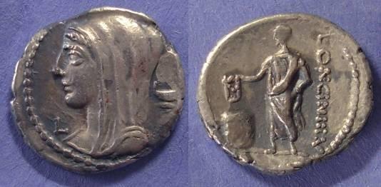 Ancient Coins - Roman Republic, L Cassius Longinus 63 BC, Denarius