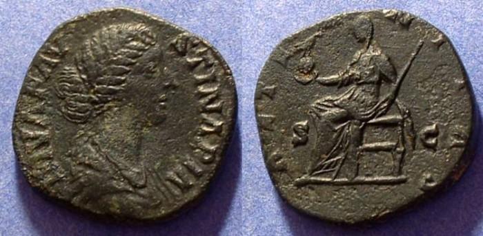 Ancient Coins - Diva Faustina Jr - d.175AD Sestertius