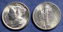 Us Coins - United States,  1945 micro S, Silver Mercury Dime, MS63