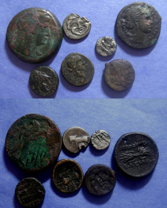 Ancient Coins - 7 Greek coins: 5 AE and 2 AR