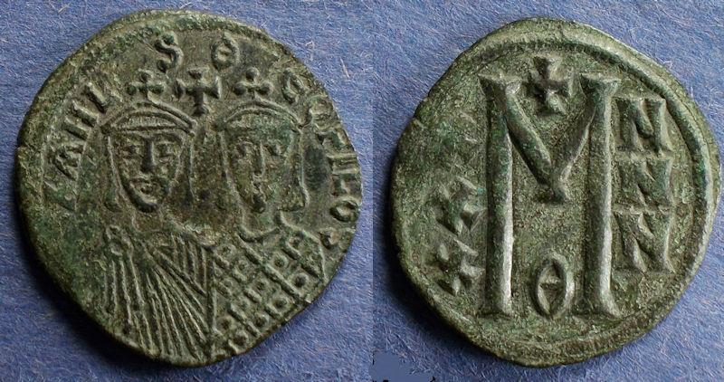 Ancient Coins - Byzantine Empire, Michael II with Theophilus 820-9, Follis
