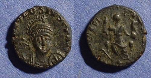 Ancient Coins - Theodosius II 402-450 AE14 with facing bust