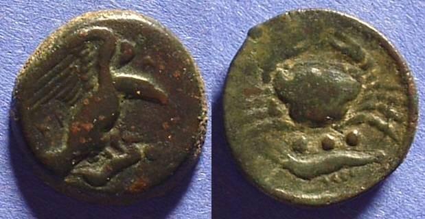 Ancient Coins - Akragas Sicily - AE Trias - 420-406BC