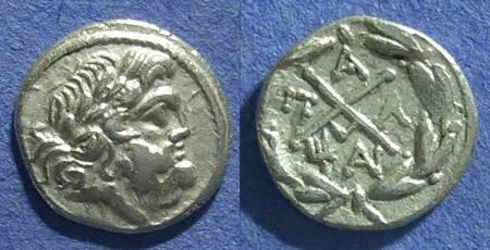 Ancient Coins - Achaian League, Pallantion Arkadia 88-30 BC, Hemidrachm