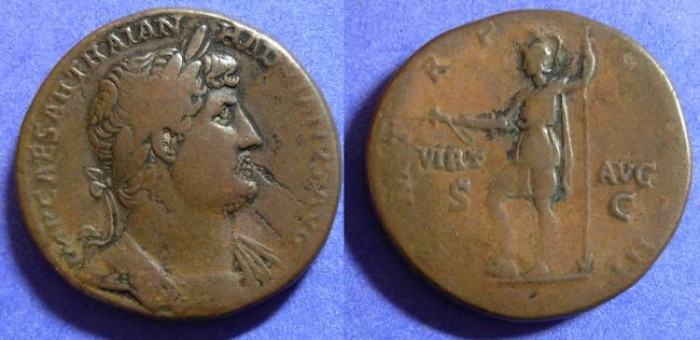 Ancient Coins - Hadrian 117-138 - Sestertius with Virtus reverse