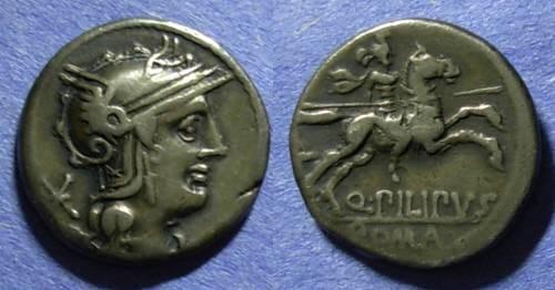 Ancient Coins - Roman Republic, Q Philippus 129 BC, Denarius
