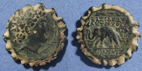 Ancient Coins - Seleucid Kingdom, Antiochos VI 145-142 BC, Serrate AE23