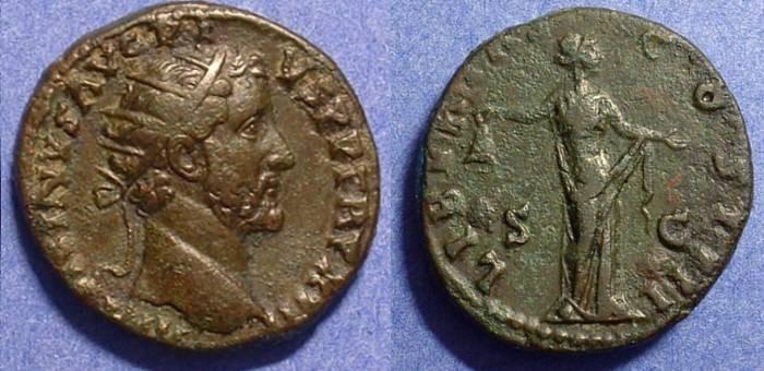 Ancient Coins - Antoninus Pius 138-161AD Dupondius