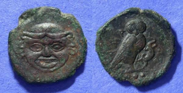 Ancient Coins - Kamarina Sicily - AE Trias - 413-405 BC