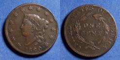 Us Coins - United States,  1820 Small date,  Coronet Head Cent