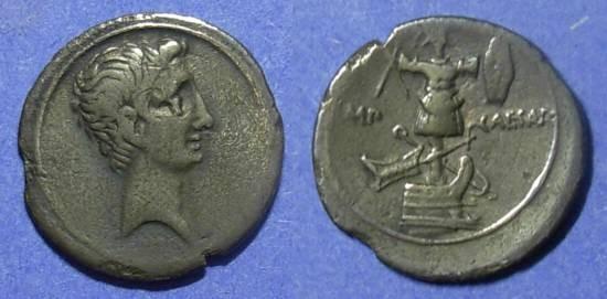 Ancient Coins - Roman Empire Octavian (Augustus) 30-27 BC Denarius