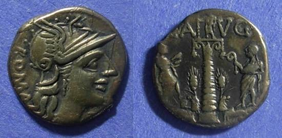 Ancient Coins - Roman Republic C Augurinus 135 BC Denarius