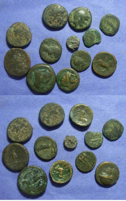 Ancient Coins - 12 Greek Bronze coins
