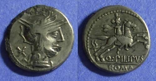 Ancient Coins - Roman Republic Q Philippus 129 BC Fourree Denarius
