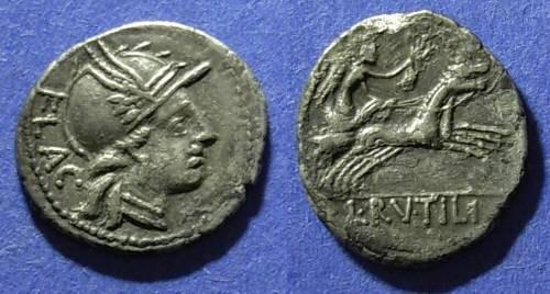 Ancient Coins - Roman Republic, L. Rutilius Flaccus 77 BC, Denarius