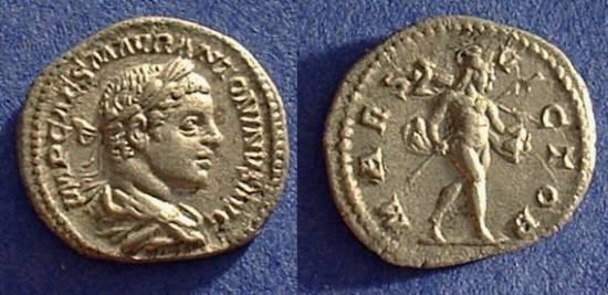Ancient Coins - Elagabalus 218-222AD - Denarius w/ mars reverse