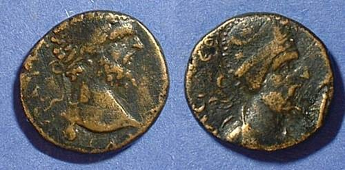 Ancient Coins - Edessa Mesopotamia - Septimius Severus and Abgar VIII AE-18