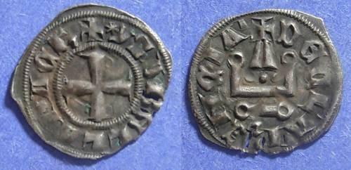 Ancient Coins - Crusader Achaea, Isabelle de Villehardouin 1297-1301, Denier