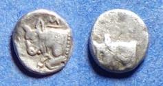 Ancient Coins - Caria, Uncertain city Circa 450 BC, Silver Tetartemorion