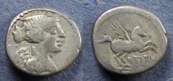 Ancient Coins - Roman Republic, Q Titius 90 BC, Quinarius