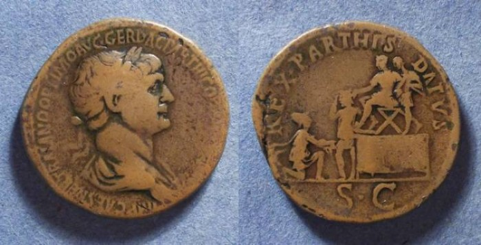 Ancient Coins - Roman Empire, Trajan 98-117, Sestertius