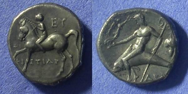 Ancient Coins - Taras Calabria  Nomos 272-235BC