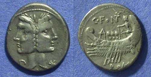 Ancient Coins - Roman Republic - C Fonteius Denarius 114-113 BC