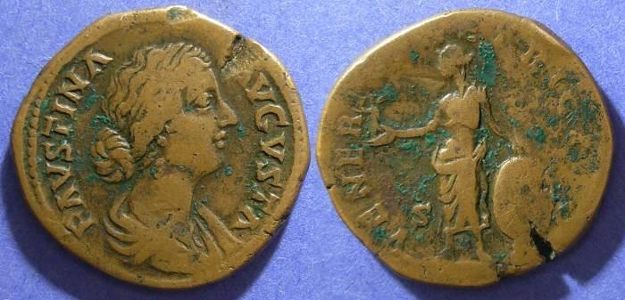 Ancient Coins - Roman Empire, Faustina Jr d. 175, Sestertius