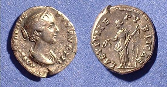 Ancient Coins - Faustina Jr (Wife of M. Aurelius) D. 175 Denarius