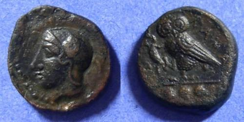 Ancient Coins - Kamarina Sicily - AE Trias 420-405 BC