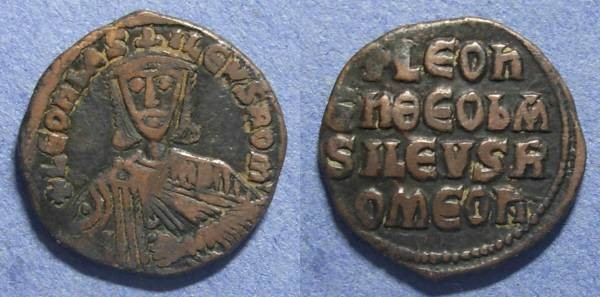Ancient Coins - Byzantine Empire, Leo VI 886-912, Follis