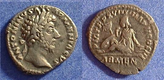 Ancient Coins - Marcus Aurelius 161-180AD Denarius with Armenia reverse