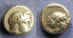 Ancient Coins - Lesbos, Mytilene 377-326 BC, Electrum Hekte