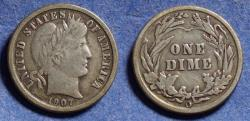 Us Coins - United States,  1907-O, Silver Barber Dime, F