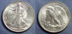 Us Coins - United States,  1943, Walking Liberty Half Dollar, MS63