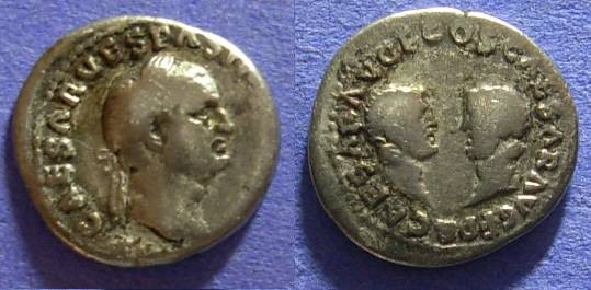 Ancient Coins - Vespasian 69-79AD Denarius w/ Titus and Domitian reverse