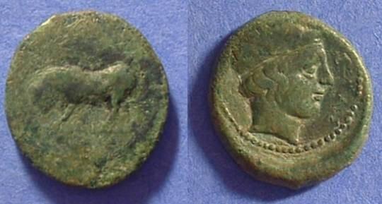 Ancient Coins - Gela Sicily - AE Trias 420-405 BC