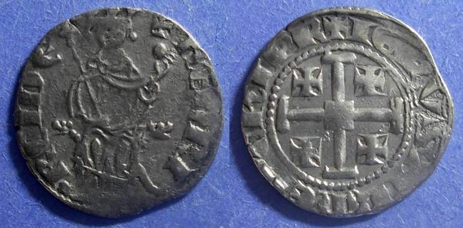 Ancient Coins - Crusader Cyprus, Henry II (2nd Reign) 1310-1324, Gros