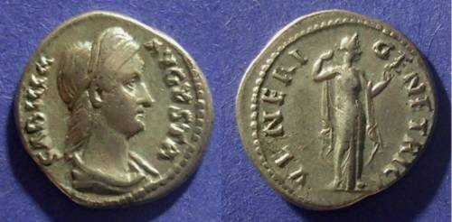 Ancient Coins - Roman Empire, Sabina D. 137 AD, Denarius