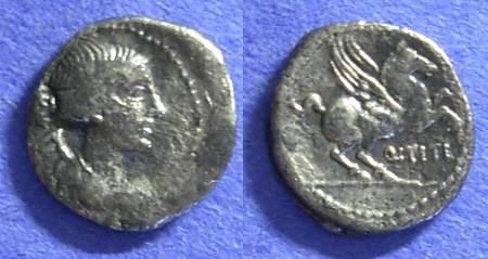 Ancient Coins - Roman Republic - Q Titius - Quinarius - Circa 90 BC